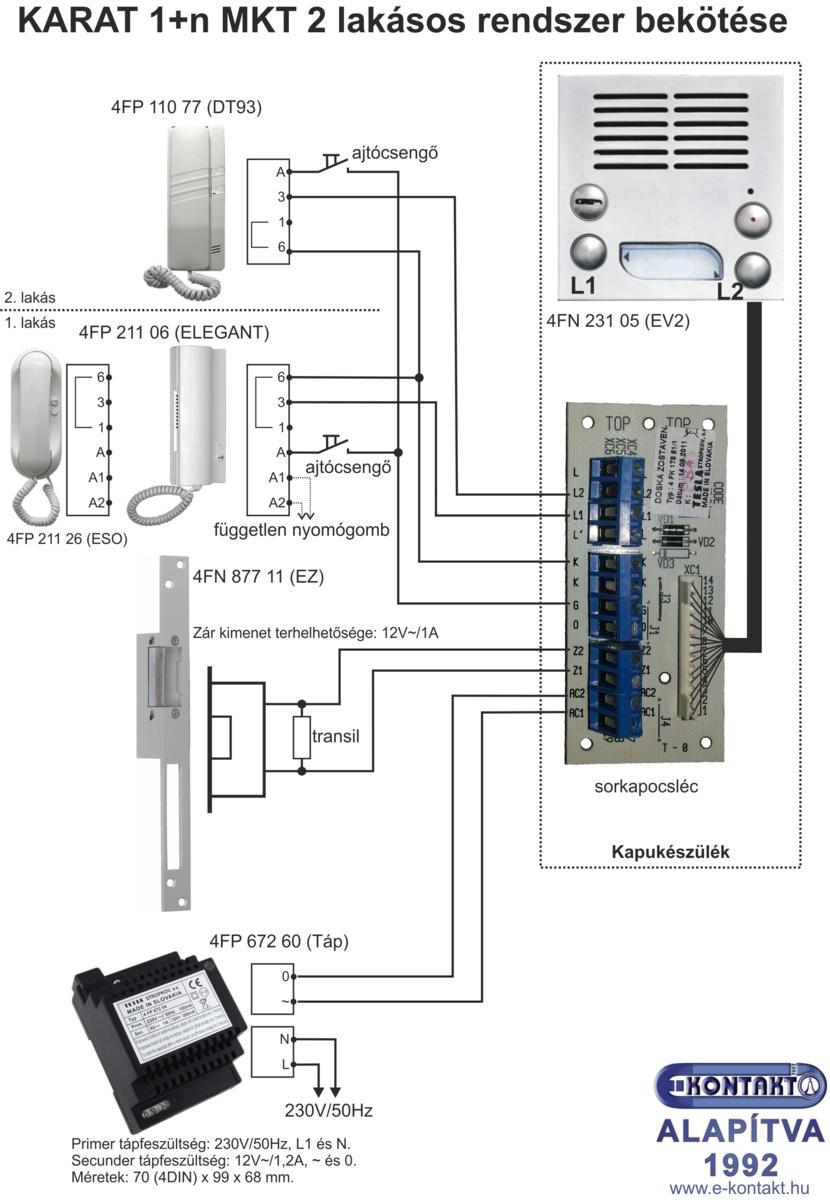KARAT 1+n MKT 2 lakásos kaputelefon bekötése